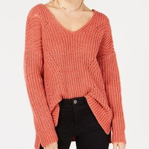 NWT Hippie Rose Crisscross-Back Pointelle Sweater